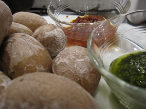 Wrinkled potatoes with mojo sauces