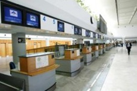 Departure desks at Arrecife airport