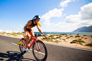 Cyclist on Lanzarote road